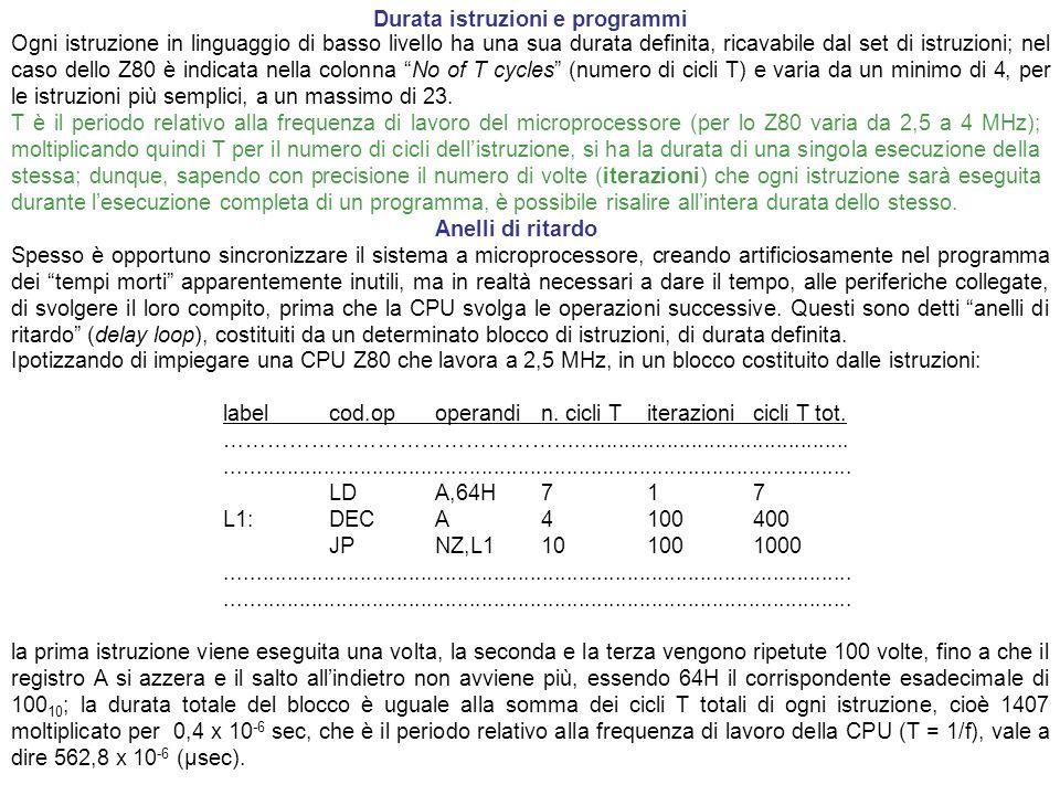 Durata istruzioni e programmi Ogni istruzione in linguaggio di basso livello ha una sua durata definita, ricavabile dal set di istruzioni; nel caso de