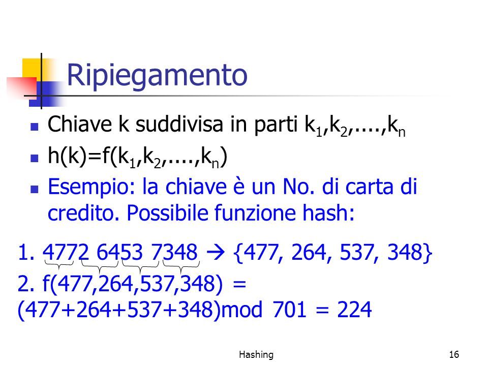 Hashing16 Ripiegamento Chiave k suddivisa in parti k 1,k 2,....,k n h(k)=f(k 1,k 2,....,k n ) Esempio: la chiave è un No. di carta di credito. Possibi