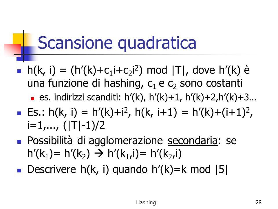 Hashing28 Scansione quadratica h(k, i) = (h(k)+c 1 i+c 2 i 2 ) mod |T|, dove h(k) è una funzione di hashing, c 1 e c 2 sono costanti es.