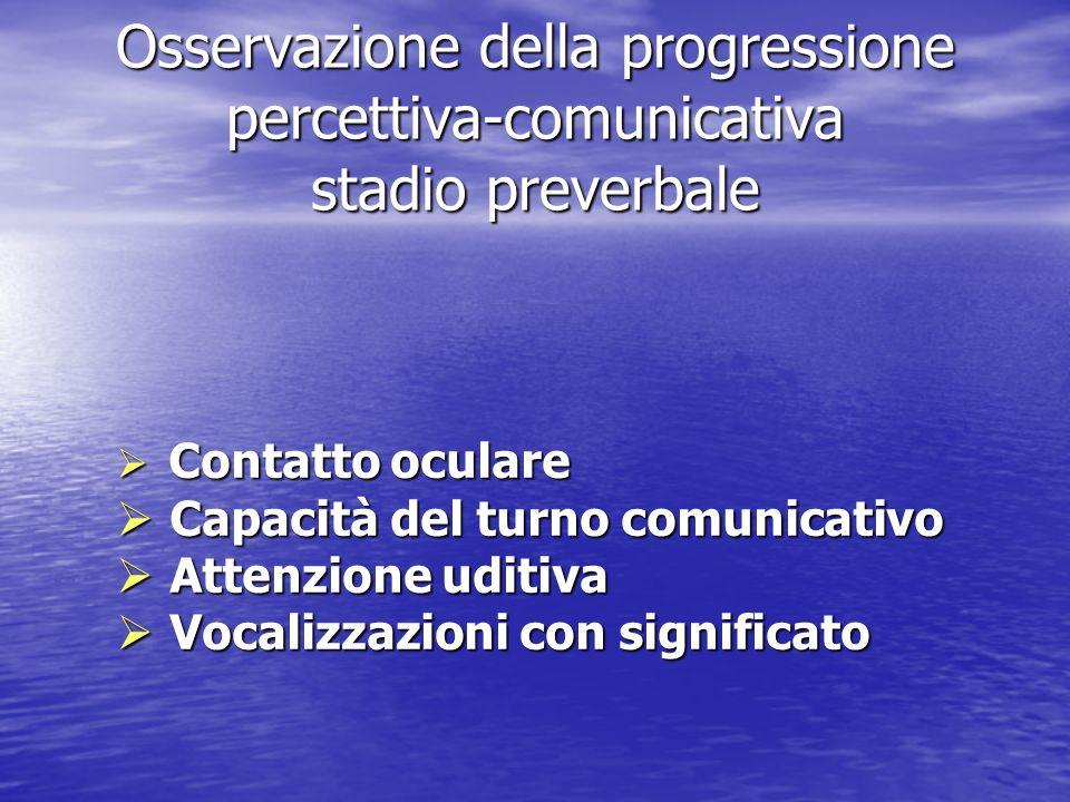 Osservazione della progressione percettiva-comunicativa stadio preverbale Contatto oculare Contatto oculare Capacità del turno comunicativo Capacità d