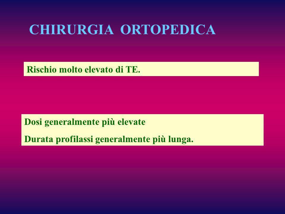 CHIRURGIA ORTOPEDICA Rischio molto elevato di TE. Dosi generalmente più elevate Durata profilassi generalmente più lunga.