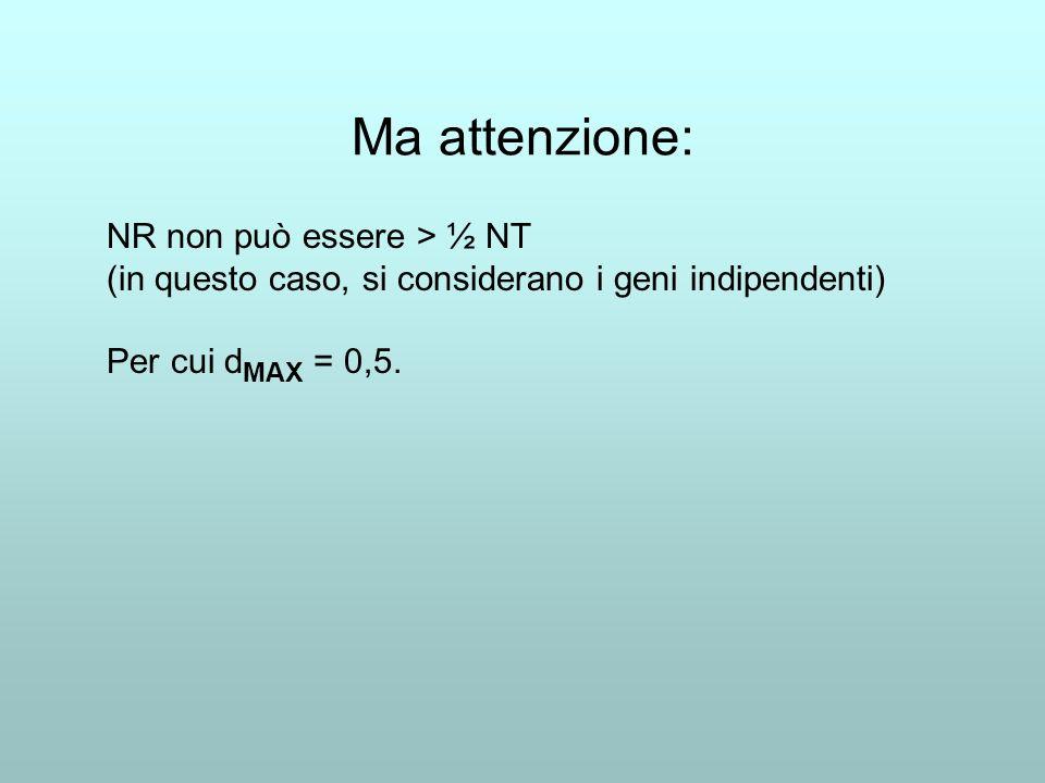 Ma attenzione: NR non può essere > ½ NT (in questo caso, si considerano i geni indipendenti) Per cui d MAX = 0,5.