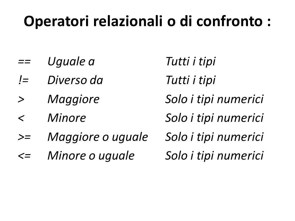 Operatori relazionali o di confronto : == Uguale a Tutti i tipi != Diverso da Tutti i tipi > Maggiore Solo i tipi numerici < Minore Solo i tipi numeri