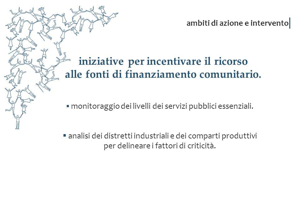 iniziative per incentivare il ricorso alle fonti di finanziamento comunitario. monitoraggio dei livelli dei servizi pubblici essenziali. analisi dei d