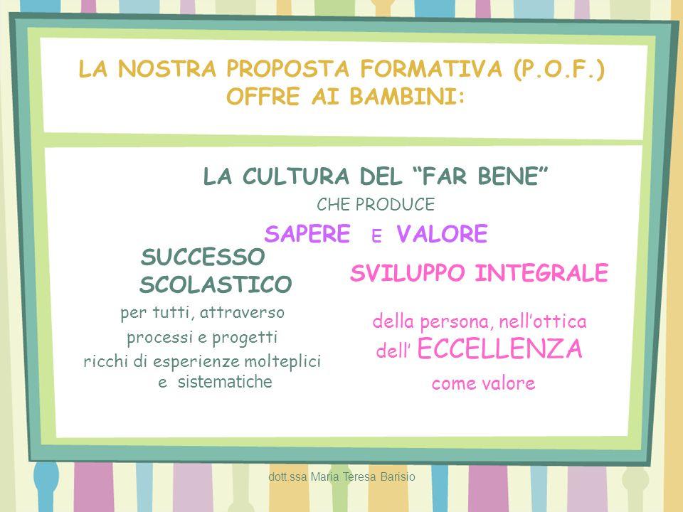 dott.ssa Maria Teresa Barisio LA NOSTRA PROPOSTA FORMATIVA (P.O.F.) OFFRE AI BAMBINI: LA CULTURA DEL FAR BENE CHE PRODUCE SAPERE E VALORE SUCCESSO SCO