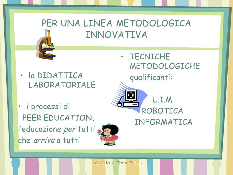 dott.ssa Maria Teresa Barisio PER UNA LINEA METODOLOGICA INNOVATIVA la DIDATTICA LABORATORIALE i processi di PEER EDUCATION, leducazione per tutti che