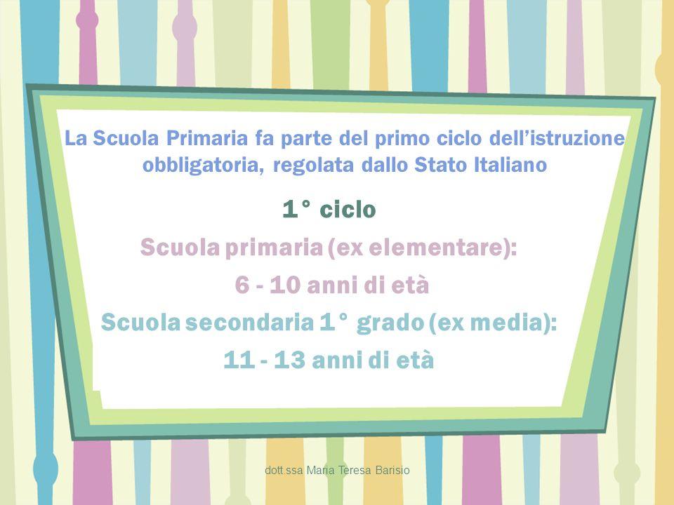 dott.ssa Maria Teresa Barisio La Scuola Primaria fa parte del primo ciclo dellistruzione obbligatoria, regolata dallo Stato Italiano 1° ciclo Scuola p