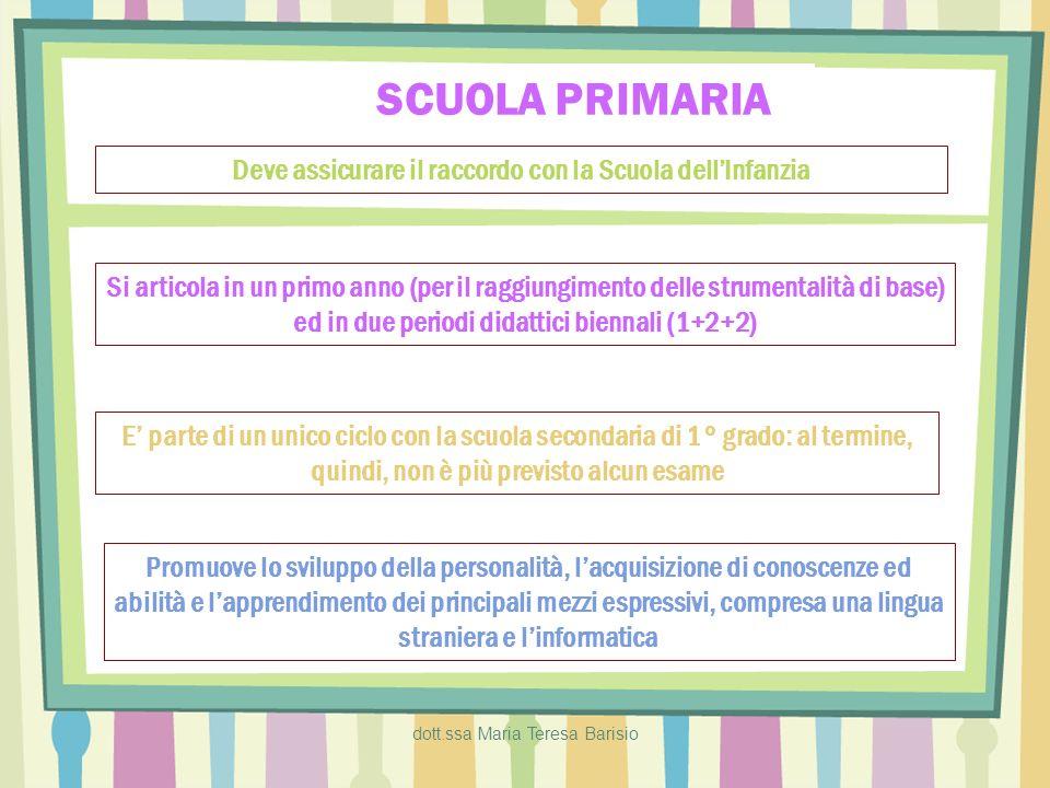 dott.ssa Maria Teresa Barisio SCUOLA PRIMARIA Deve assicurare il raccordo con la Scuola dellInfanzia Si articola in un primo anno (per il raggiungimen