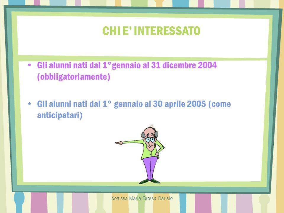 dott.ssa Maria Teresa Barisio CHI E INTERESSATO Gli alunni nati dal 1°gennaio al 31 dicembre 2004 (obbligatoriamente) Gli alunni nati dal 1° gennaio a