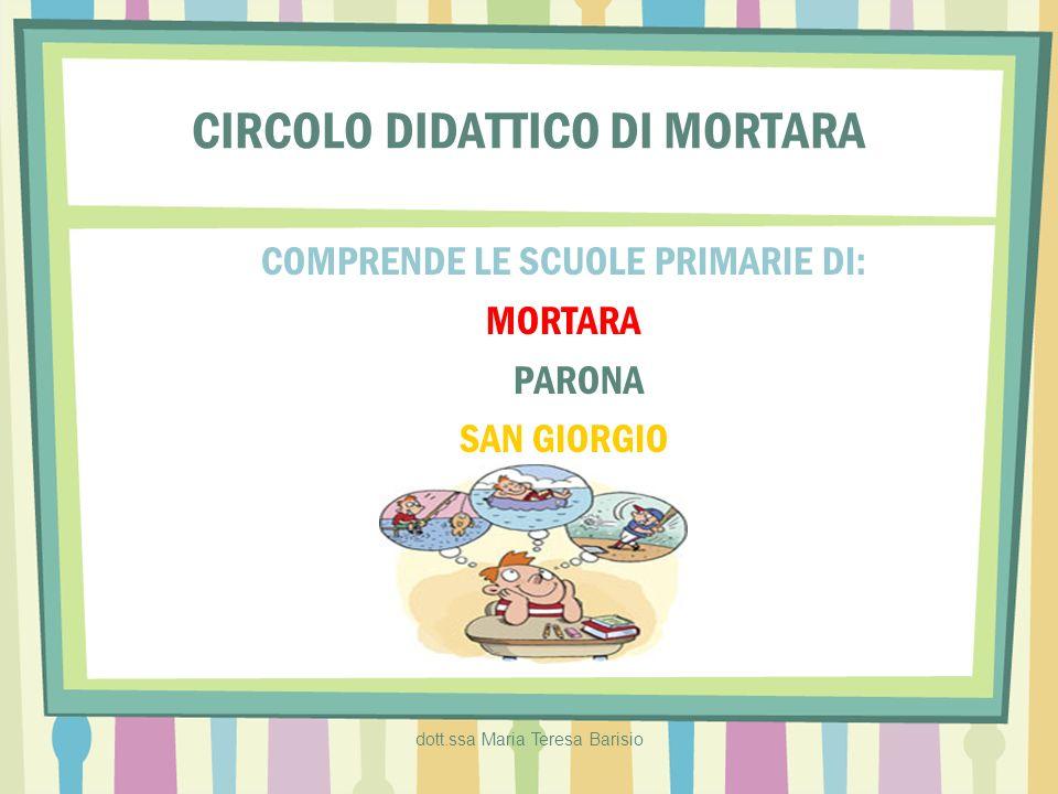 dott.ssa Maria Teresa Barisio CIRCOLO DIDATTICO DI MORTARA COMPRENDE LE SCUOLE PRIMARIE DI: MORTARA PARONA SAN GIORGIO