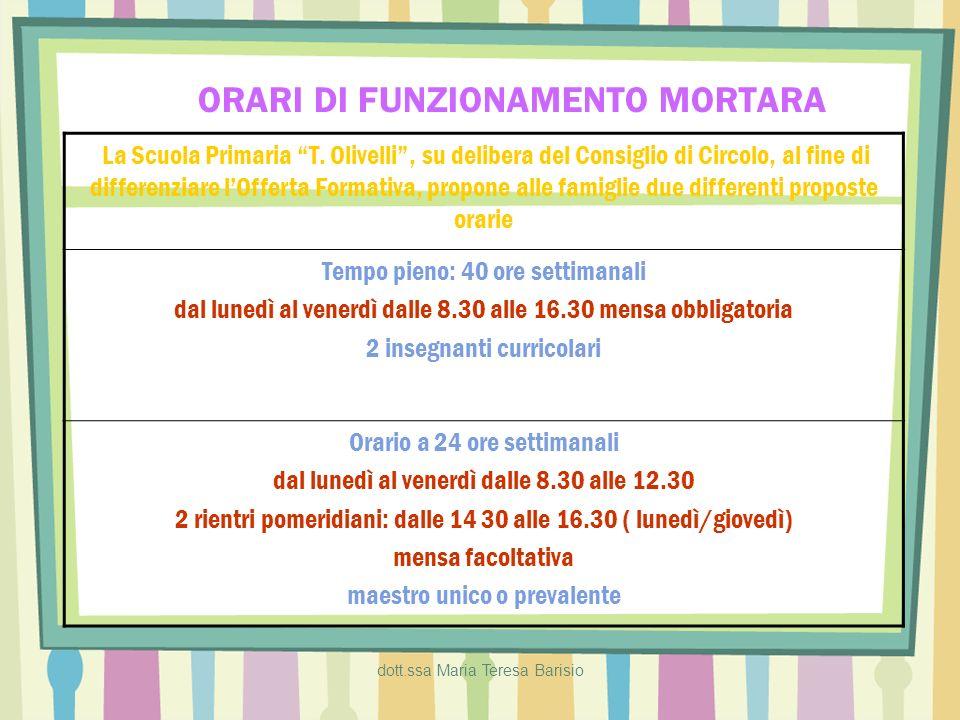 dott.ssa Maria Teresa Barisio ORARI DI FUNZIONAMENTO PARONA/SAN GIORGIO Orario a 24 ore settimanali 5 mattine 1 rientro pomeridiano (lunedì) orario: 8.30/13 - 14/16.30 Orario a 30 ore settimanali 5 mattine 3 rientri pomeridiani (lun/mart/giov) orario: 8.30/13 - 14/16.30 maestro unico o prevalente