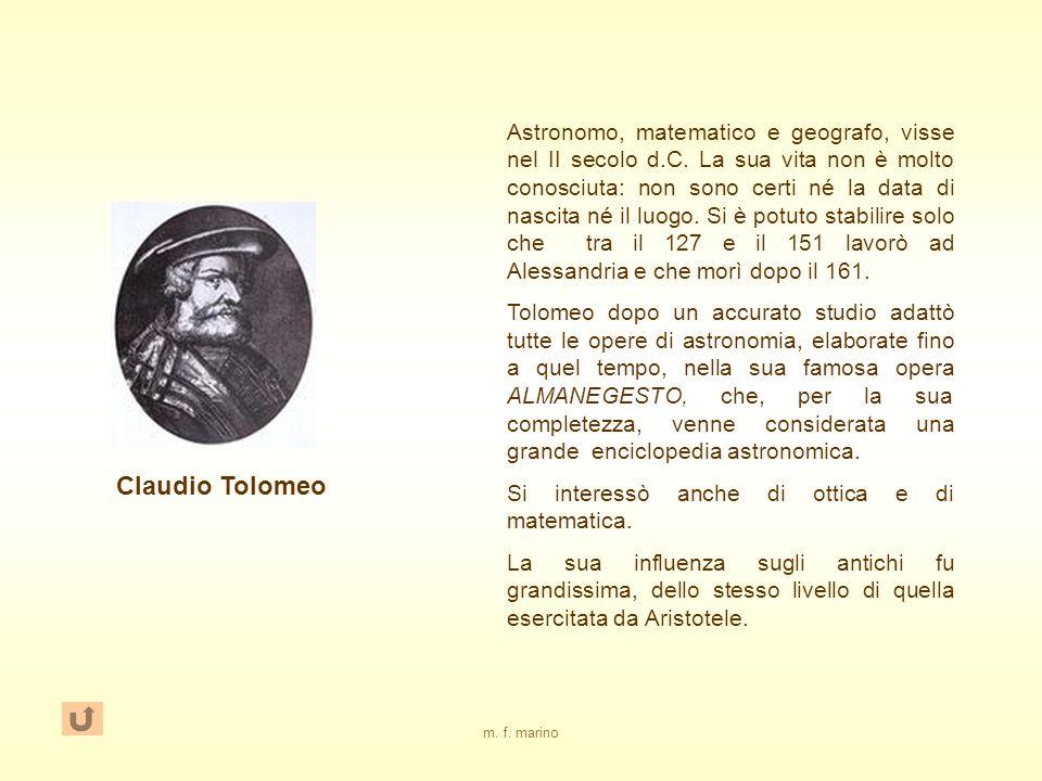 m.f. marino Claudio Tolomeo Astronomo, matematico e geografo, visse nel II secolo d.C.
