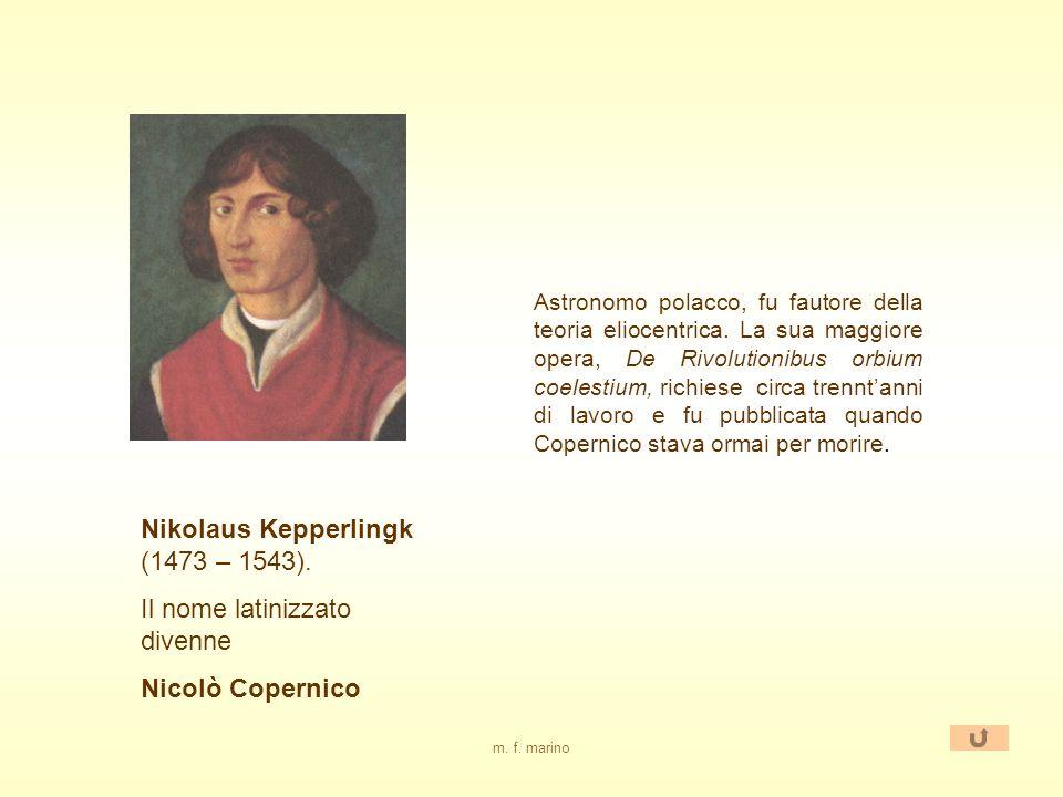 m. f. marino Teoria eliocentrica In contrapposizione alla teoria tolemaica, lastronomo N. Copernico, riprendendo una teoria di Aristarco (III sec. a.C
