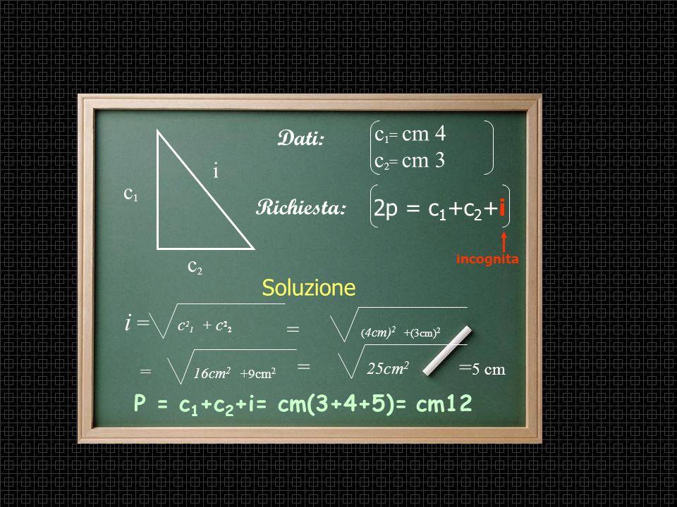 Teorema di Pitagora applicato ad un problema Problema In un triangolo rettangolo i cateti misurano rispettivamente cm 4 e cm 3. Trova il perimetro.