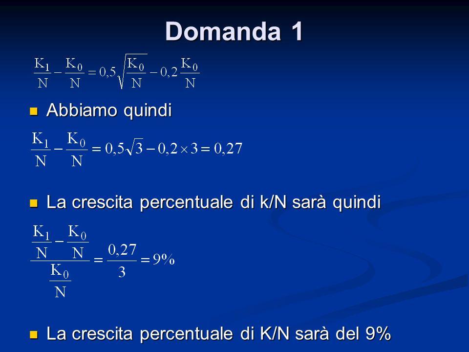 Domanda 1 Abbiamo quindi Abbiamo quindi La crescita percentuale di k/N sarà quindi La crescita percentuale di k/N sarà quindi La crescita percentuale