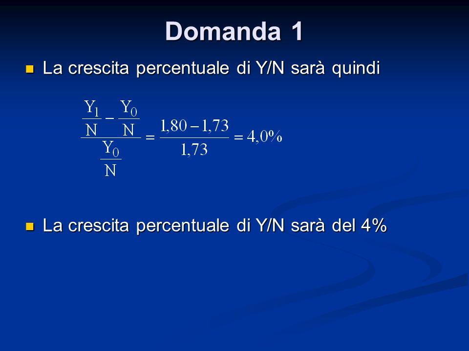 Domanda 1 La crescita percentuale di Y/N sarà quindi La crescita percentuale di Y/N sarà quindi La crescita percentuale di Y/N sarà del 4% La crescita