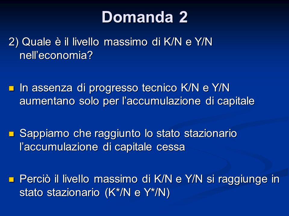 Domanda 2 2) Quale è il livello massimo di K/N e Y/N nelleconomia? In assenza di progresso tecnico K/N e Y/N aumentano solo per laccumulazione di capi