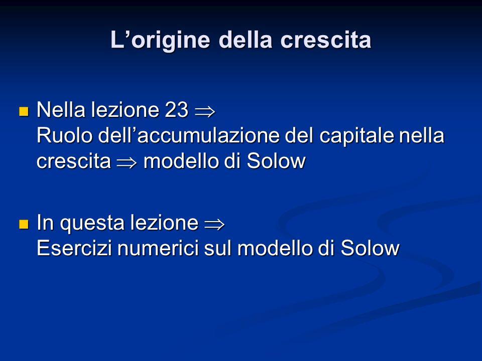 Nella lezione 23 Ruolo dellaccumulazione del capitale nella crescita modello di Solow Nella lezione 23 Ruolo dellaccumulazione del capitale nella cres