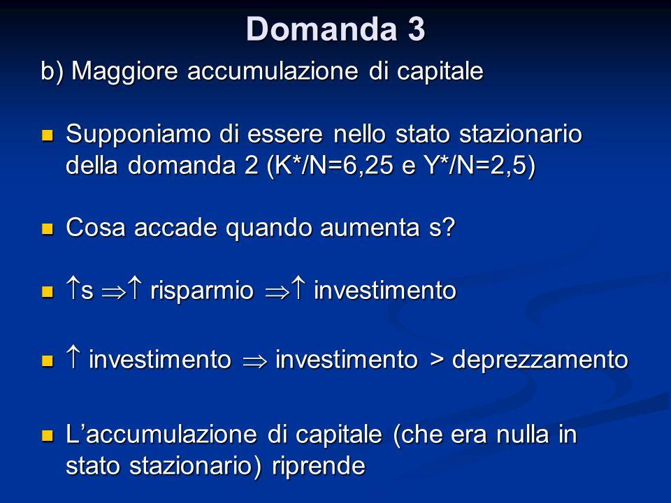 Domanda 3 b) Maggiore accumulazione di capitale Supponiamo di essere nello stato stazionario della domanda 2 (K*/N=6,25 e Y*/N=2,5) Supponiamo di esse