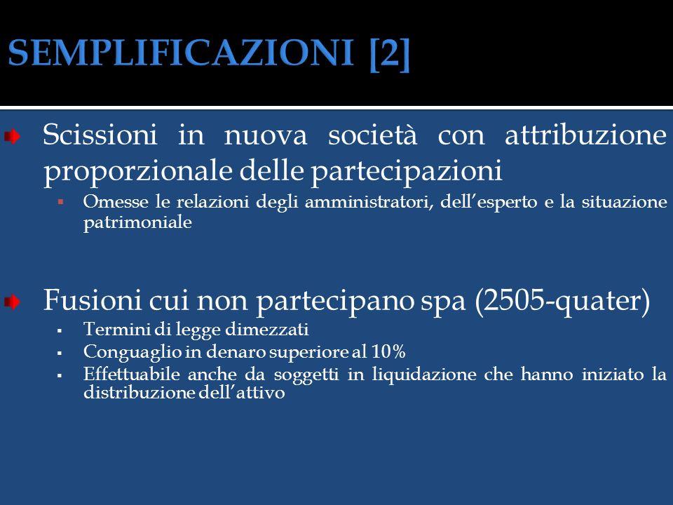 Società possedute al 100% (2505) Omesse le relazioni degli amministratori e dellesperto Potere attribuibile agli amministratori dallo statuto Salvo ch