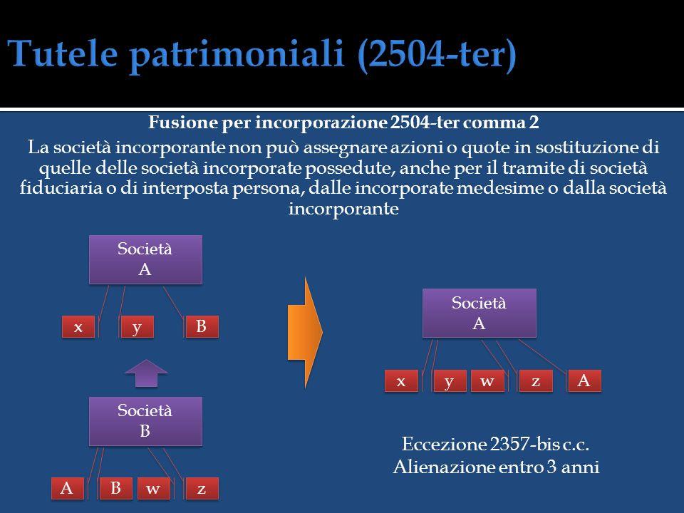 Fusione per unione 2504-ter comma 1 La società che risulta dalla fusione non può assegnare azioni o quote in sostituzione di quelle delle società part