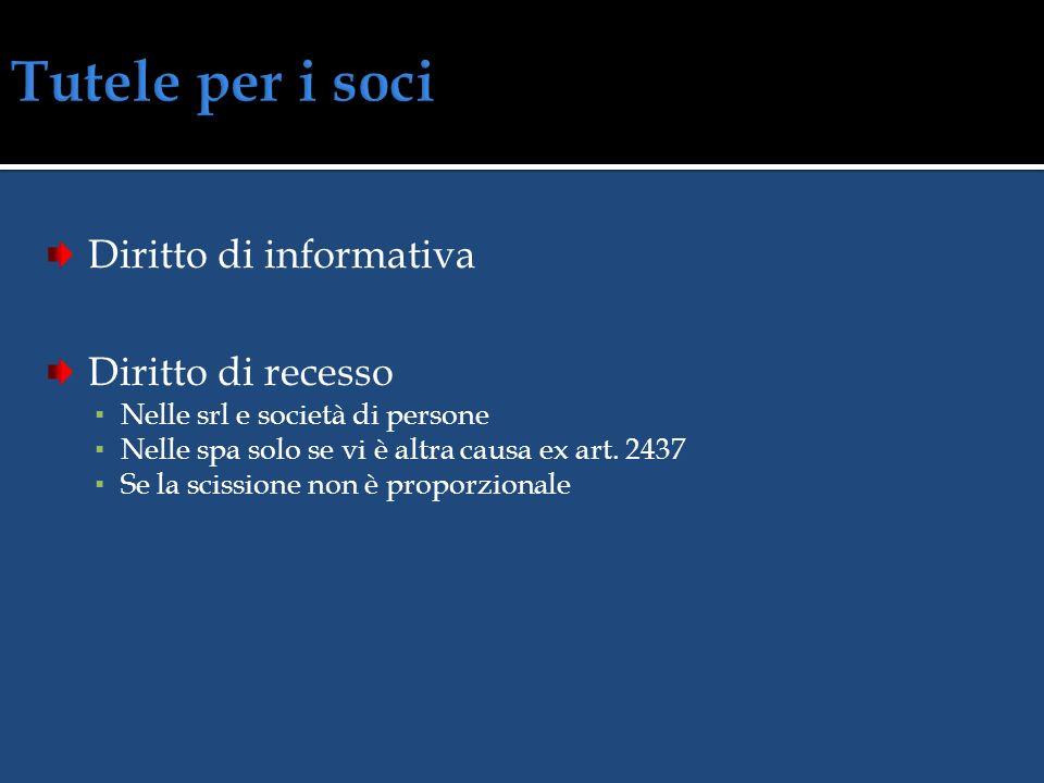 Diritto di opposizione 60/30 giorni dal deposito della delibera di fusione/scissione Salvo consenso unanime Pagamento dei creditori o deposito delle s