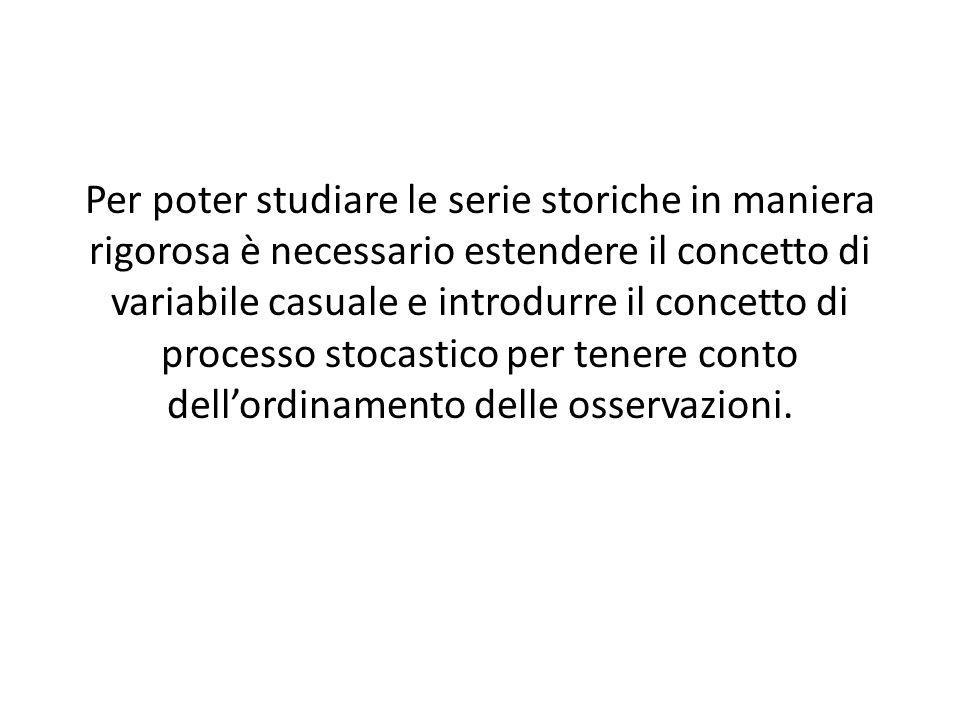 Per poter studiare le serie storiche in maniera rigorosa è necessario estendere il concetto di variabile casuale e introdurre il concetto di processo stocastico per tenere conto dellordinamento delle osservazioni.
