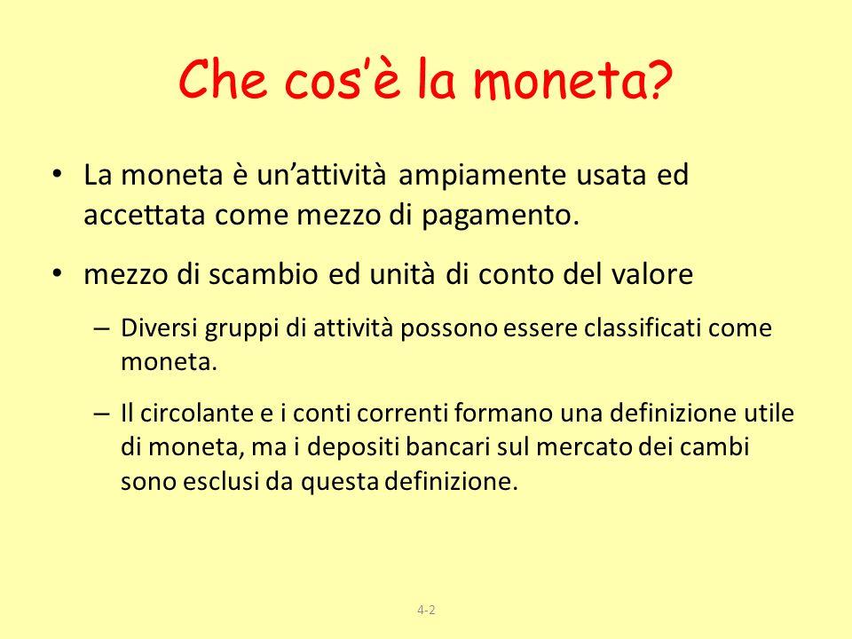 4-2 Che cosè la moneta? La moneta è unattività ampiamente usata ed accettata come mezzo di pagamento. mezzo di scambio ed unità di conto del valore –