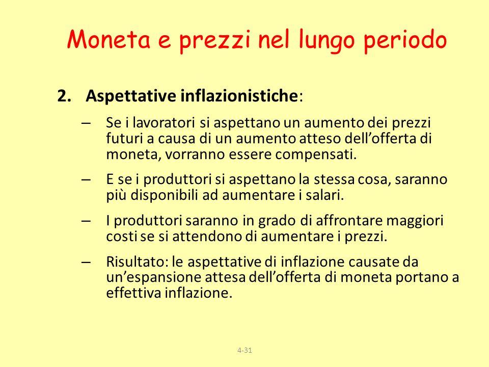 4-31 2.Aspettative inflazionistiche: – Se i lavoratori si aspettano un aumento dei prezzi futuri a causa di un aumento atteso dellofferta di moneta, v