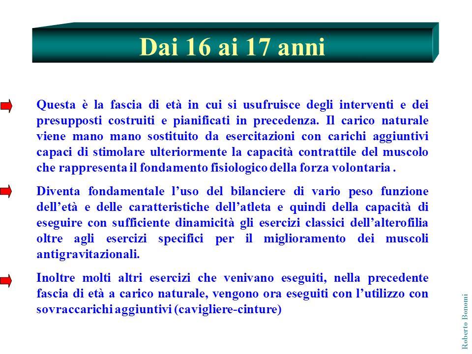 Dai 16 ai 17 anni Roberto Bonomi Questa è la fascia di età in cui si usufruisce degli interventi e dei presupposti costruiti e pianificati in preceden