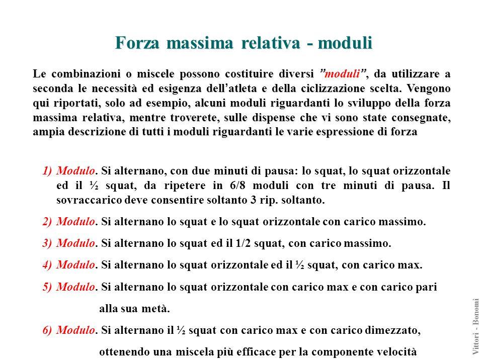 Forza massima relativa - moduli Le combinazioni o miscele possono costituire diversi moduli, da utilizzare a seconda le necessità ed esigenza dell atl