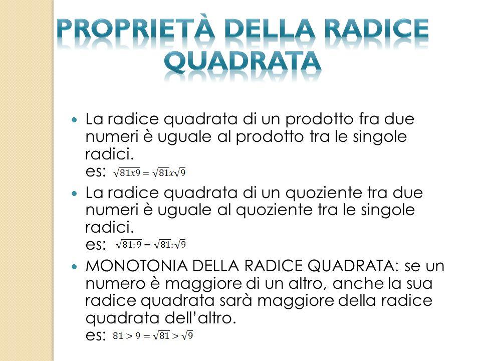 La radice quadrata di un prodotto fra due numeri è uguale al prodotto tra le singole radici. es: La radice quadrata di un quoziente tra due numeri è u