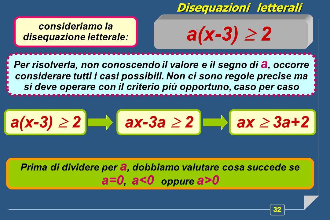 32 Disequazioni letterali consideriamo la disequazione letterale: a(x-3) 2 Per risolverla, non conoscendo il valore e il segno di a, occorre considerare tutti i casi possibili.