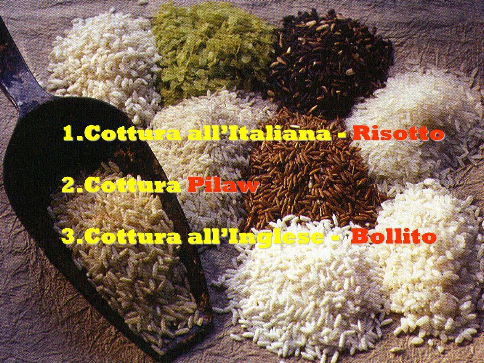 1.Cottura allItaliana - Risotto 2.Cottura Pilaw 3.Cottura allInglese - Bollito