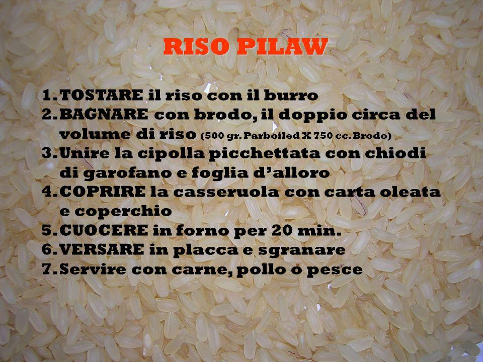 1.TOSTARE il riso con il burro 2.BAGNARE con brodo, il doppio circa del volume di riso (500 gr.