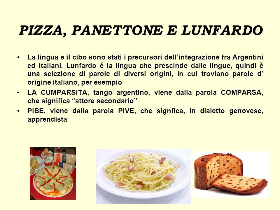 PIZZA, PANETTONE E LUNFARDO La lingua e il cibo sono stati i precursori dellintegrazione fra Argentini ed Italiani. Lunfardo é la lingua che prescinde