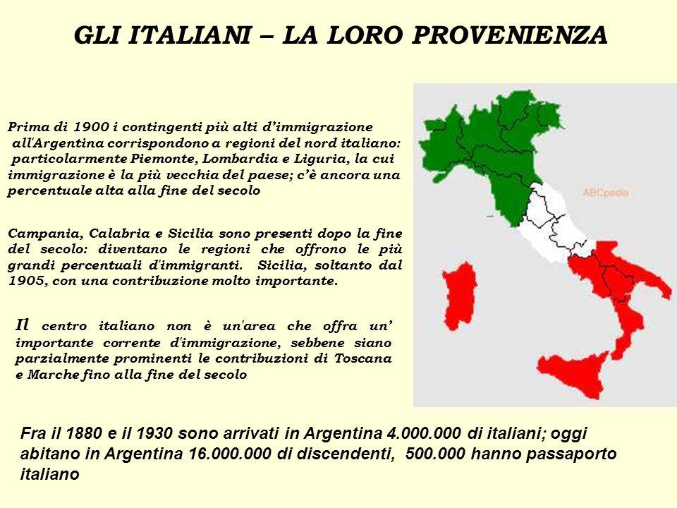 GLI ITALIANI – LA LORO PROVENIENZA 1 2 3 4 4 4 Prima di 1900 i contingenti più alti dimmigrazione all'Argentina corrispondono a regioni del nord itali