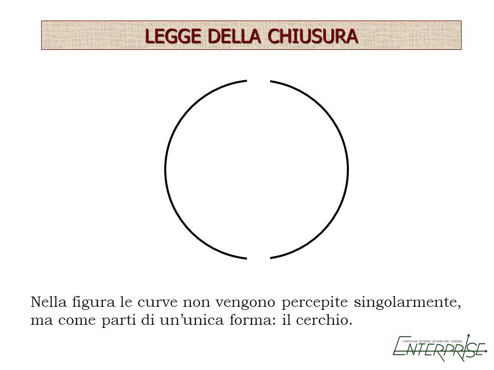 Nella figura le curve non vengono percepite singolarmente, ma come parti di ununica forma: il cerchio. LEGGE DELLA CHIUSURA