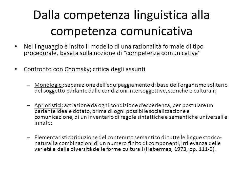 Dalla competenza linguistica alla competenza comunicativa Nel linguaggio è insito il modello di una razionalità formale di tipo procedurale, basata su