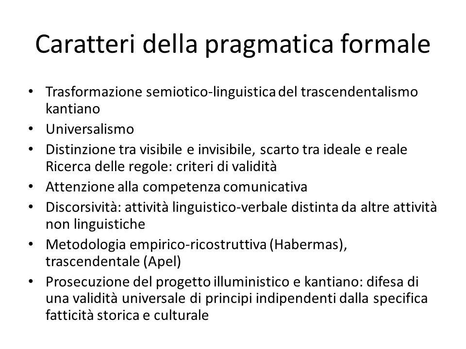 Caratteri della pragmatica formale Trasformazione semiotico-linguistica del trascendentalismo kantiano Universalismo Distinzione tra visibile e invisi