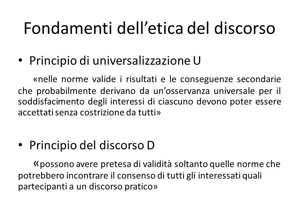 Fondamenti delletica del discorso Principio di universalizzazione U «nelle norme valide i risultati e le conseguenze secondarie che probabilmente deri
