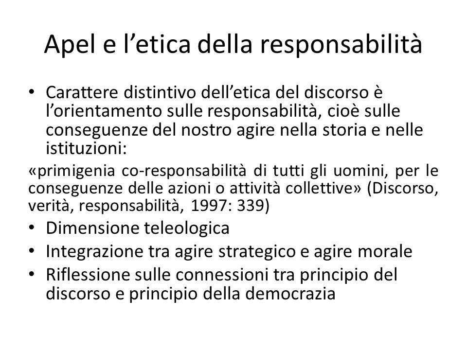 Apel e letica della responsabilità Carattere distintivo delletica del discorso è lorientamento sulle responsabilità, cioè sulle conseguenze del nostro