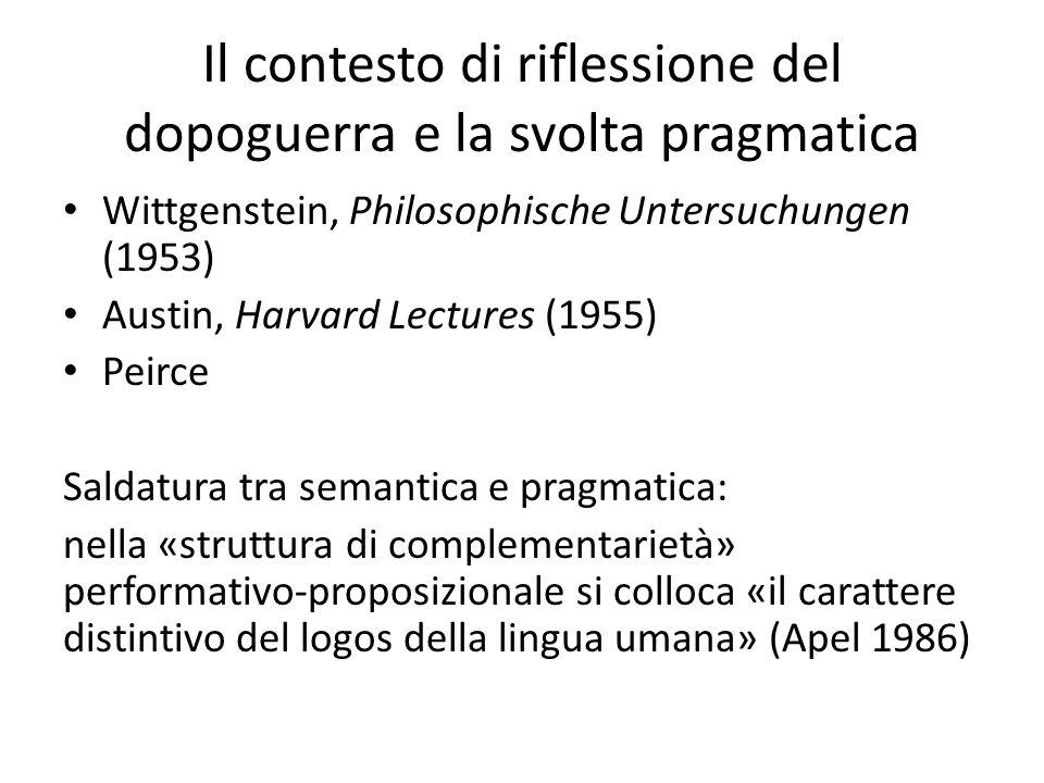 Il contesto di riflessione del dopoguerra e la svolta pragmatica Wittgenstein, Philosophische Untersuchungen (1953) Austin, Harvard Lectures (1955) Pe
