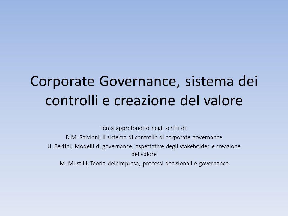 Corporate Governance, sistema dei controlli e creazione del valore Tema approfondito negli scritti di: D.M. Salvioni, Il sistema di controllo di corpo
