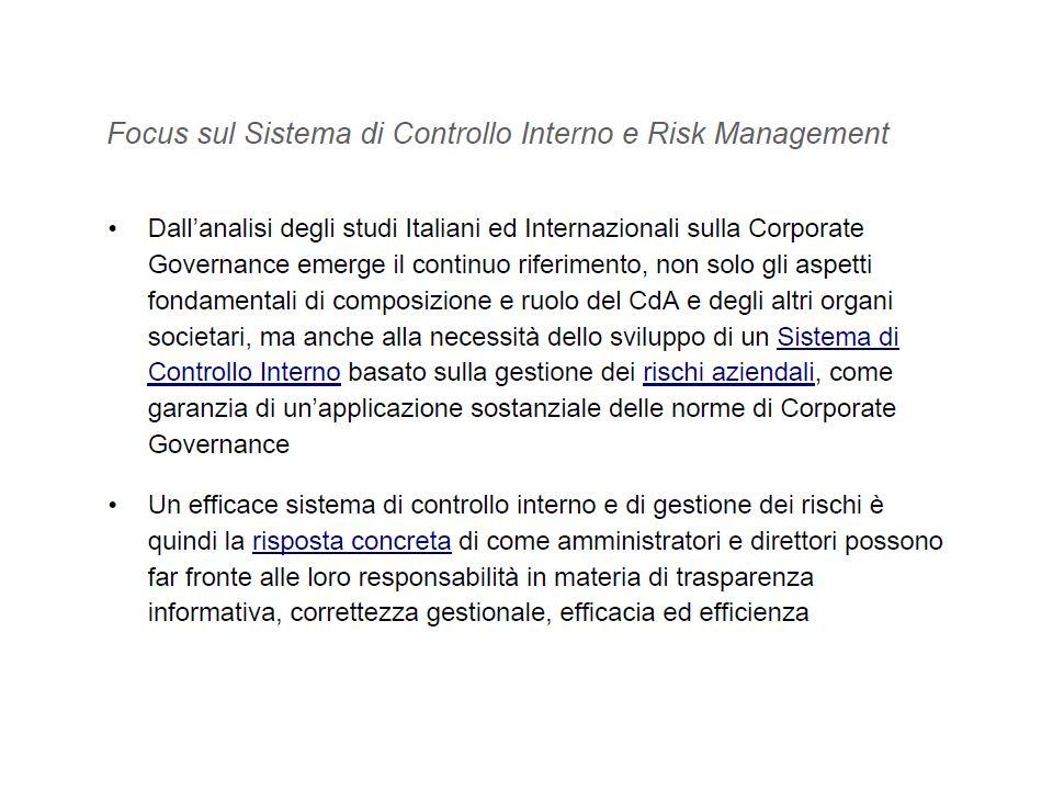 IL SISTEMA DEI CONTROLLI NELLA REGOLAMENTAZIONE ITALIANA: è COERENTE CON UNA DEFINZIONE DI CORPORATE GOVERNANCE……………………….