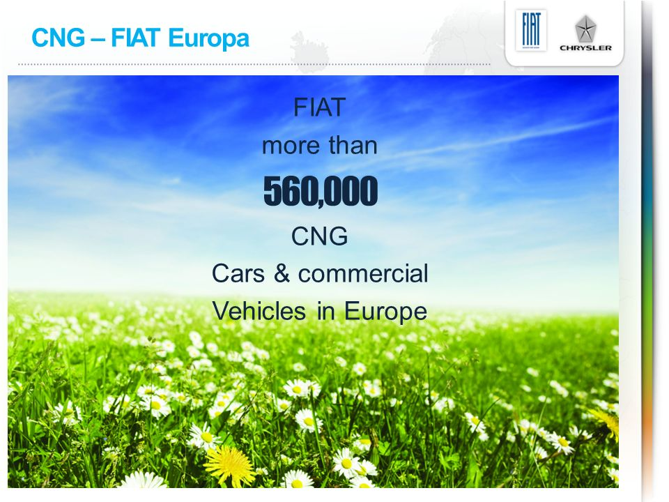 CNG – FIAT Europa FIAT more than 560,000 CNG Cars & commercial Vehicles in Europe