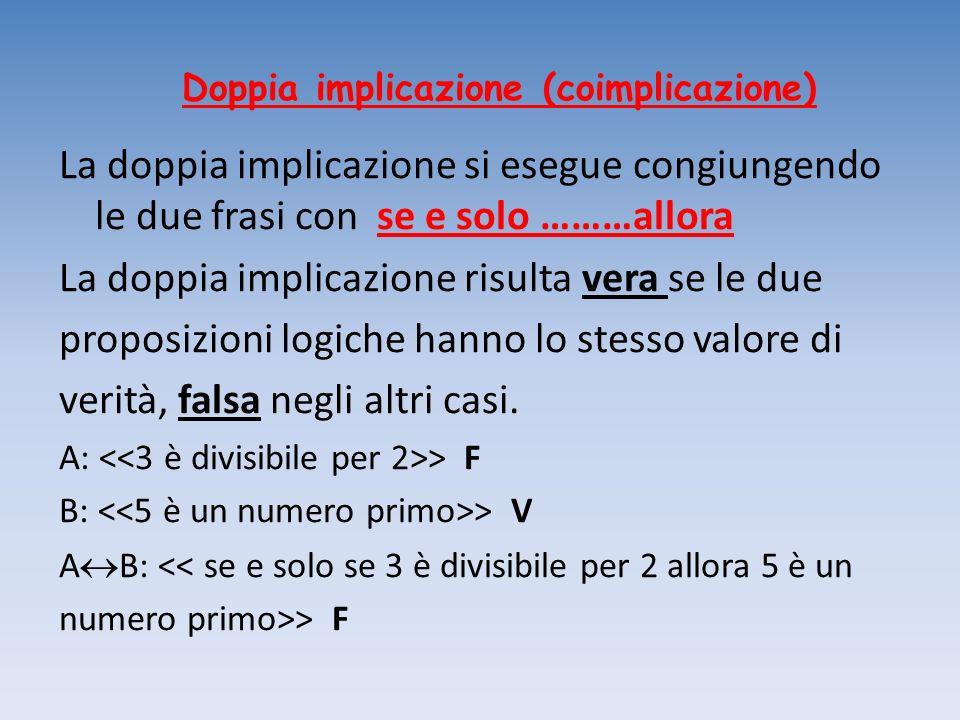 Doppia implicazione (coimplicazione) La doppia implicazione si esegue congiungendo le due frasi con se e solo ………allora La doppia implicazione risulta