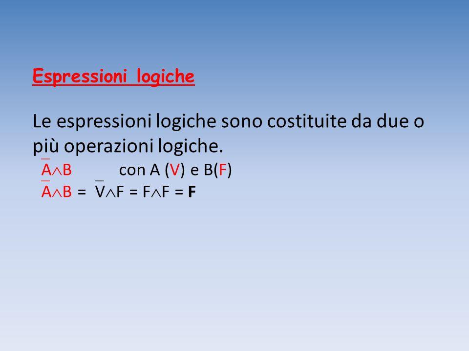 Espressioni logiche Le espressioni logiche sono costituite da due o più operazioni logiche. A B con A (V) e B(F) A B = V F = F F = F
