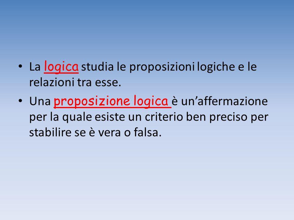 La logica studia le proposizioni logiche e le relazioni tra esse. Una proposizione logica è unaffermazione per la quale esiste un criterio ben preciso