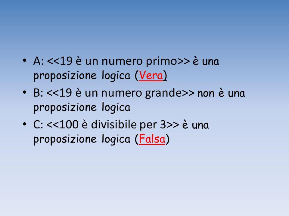 A: > è una proposizione logica (Vera) B: > non è una proposizione logica C: > è una proposizione logica (Falsa)